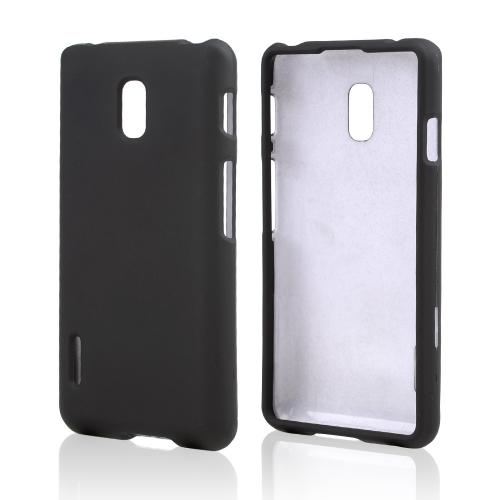 Black Rubberized Hard Case for LG Optimus F7
