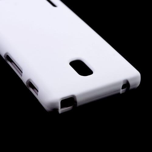 White Rubberized Hard Case for LG Optimus F7