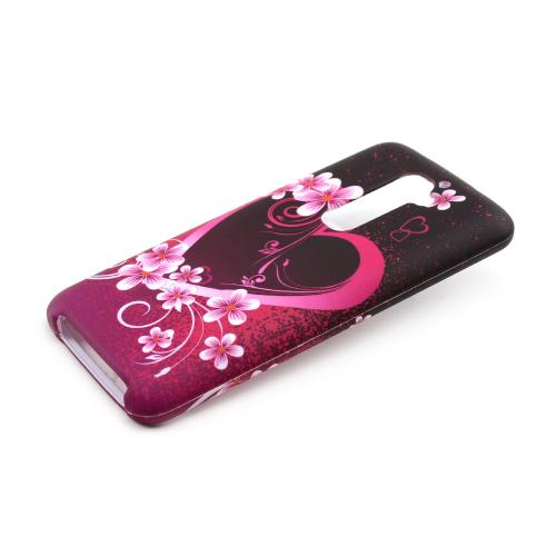 Hot Pink/ Purple Flowers and Hearts Rubberized Hard Case for LG G2 (AT&T, T-Mobile, & Sprint)