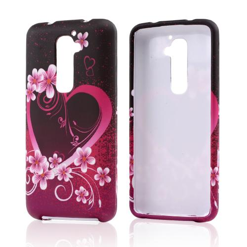 LG Hot Pink/ Purple Flowers And Hearts Rubberized Hard Ca...
