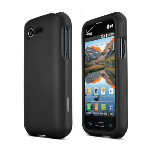 Black LG Optimus Zone 2/ LG Optimus Fuel Matte Rubberized Hard Case Cover; Perfect fit as Best Coolest Design Plastic Cases