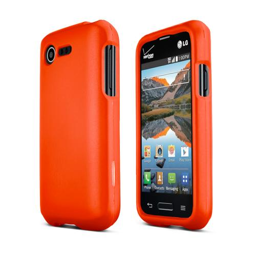 Orange LG Optimus Zone 2/ LG Optimus Fuel Matte Rubberized Hard Case Cover; Perfect fit as Best Coolest Design Plastic Cases