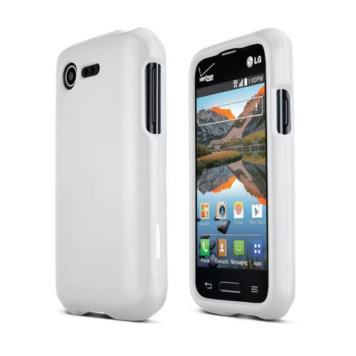 White LG Optimus Zone 2/ LG Optimus Fuel Matte Rubberized Hard Case Cover; Perfect fit as Best Coolest Design Plastic Cases