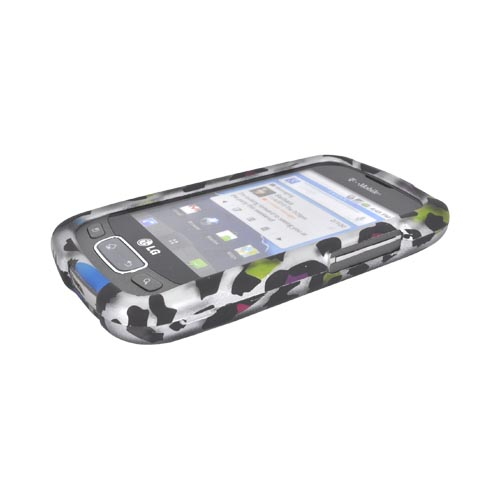 LG Optimus T, LG Thrive Rubberized Hard Case - Rainbow Leopard on Silver