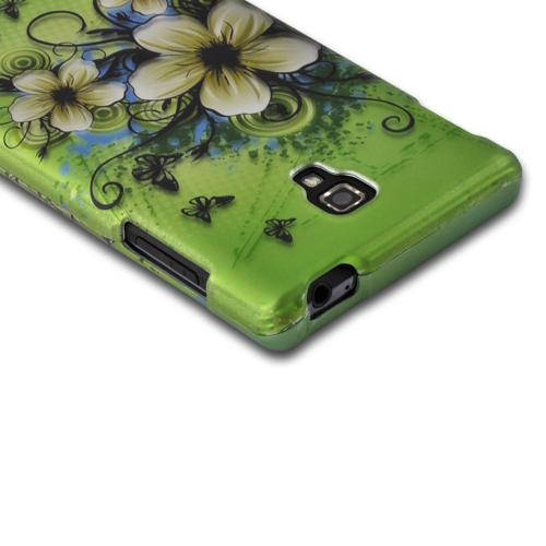 White Hawaiian Flowers on Green Rubberized Hard Case for LG Optimus L9