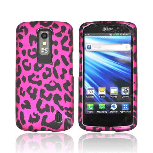 LG Nitro HD Rubberized Hard Case - Hot Pink/ Black Leopard
