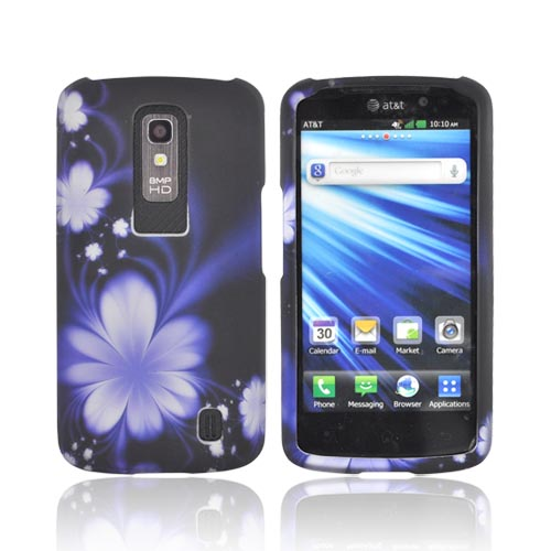 LG Nitro HD Rubberized Hard Case - Purple Flowers on Black