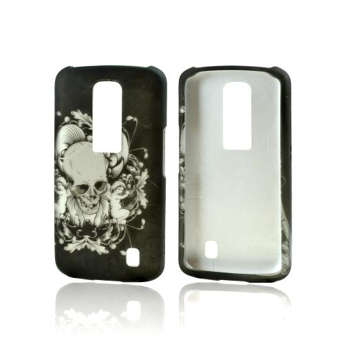 LG Nitro HD Rubberized Hard Case - Silver Skulls on Black