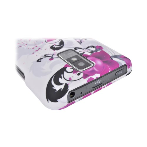LG Spectrum Rubberized Hard Case - Pink Flowers on White