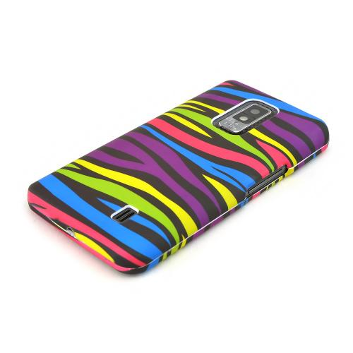 LG Spectrum Rubberized Hard Case - Rainbow Zebra on Black