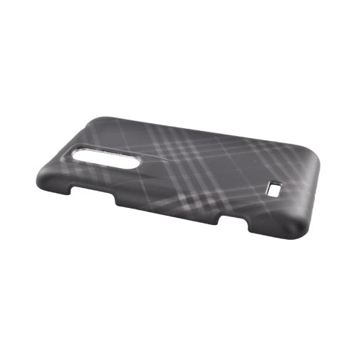 LG Thrill Rubberized Hard Case - Gray Plaid on Black