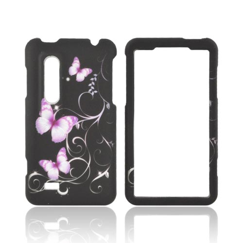 LG Thrill 4G Rubberized Hard Case - Purple Butterflies on Black