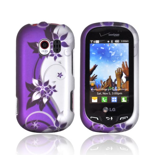 LG Extravert VN271 Rubberized Hard Case - Purple Flowers & Vines on Silver