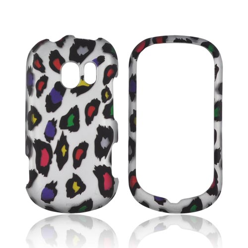 LG Extravert VN271 Rubberized Hard Case - Rainbow Leopard on Silver