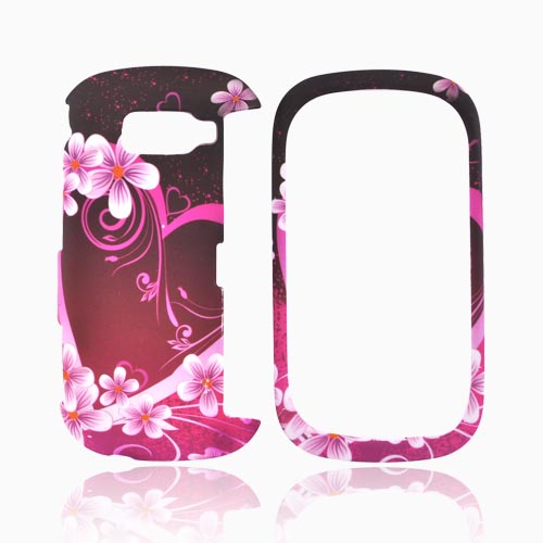 LG Octane VN530 Rubberized Hard Case - Pink Heart and Flowers