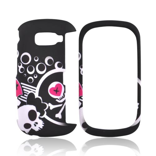 LG Octane VN530 Rubberized Hard Case - White Skull And Pink Heart On Black