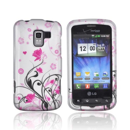LG Enlighten VS700 Rubberized Hard Case - Black Vines w/ Pink Flowers on Silver
