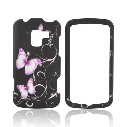 LG Enlighten VS700 Rubberized Hard Case - Purple Butterflies on Black