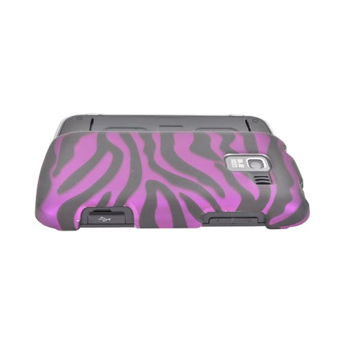 LG Enlighten VS700 Rubberized Hard Case - Purple/ Black Zebra