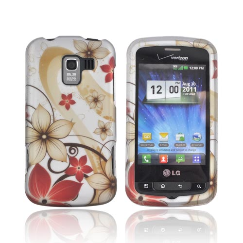 LG Enlighten VS700 Rubberized Hard Case - Tan & Red Flowers on Silver