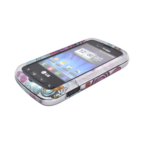 LG Enlighten VS700 Rubberized Hard Case - Turquoise/ Purple Floral Burst on Silver