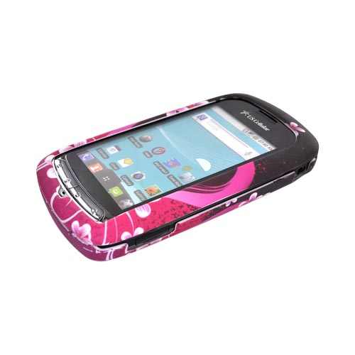 LG Genesis VS760 Rubberized Hard Case - Hot Pink/ Purple Flowers & Heart