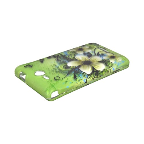 LG Lucid 4G Rubberized Hard Case - White Hawaiian Flowers on Green