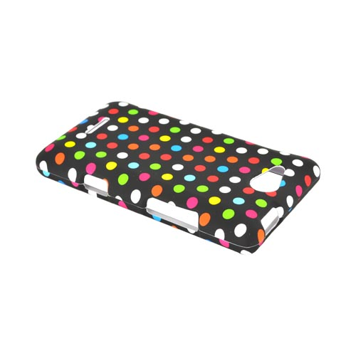 LG Lucid 4G Rubberized Hard Case - Rainbow Polka Dots on Black