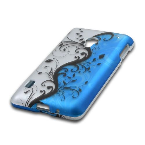 Black Vines on Blue/ Silver Rubberized Hard Case for LG Lucid 2