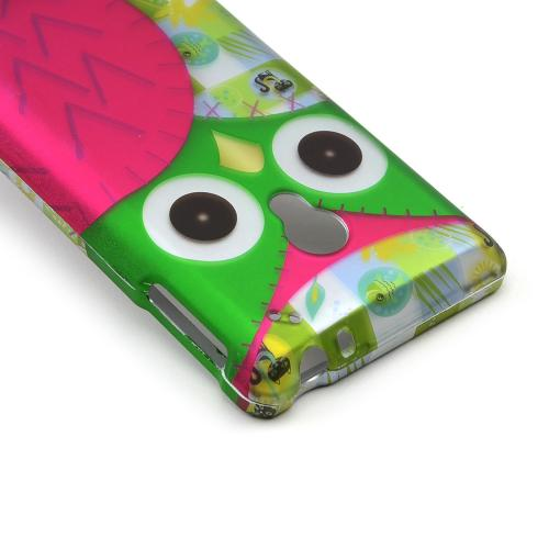 Hot Pink/ Green Owl Rubberized Hard Case for LG Lucid 2