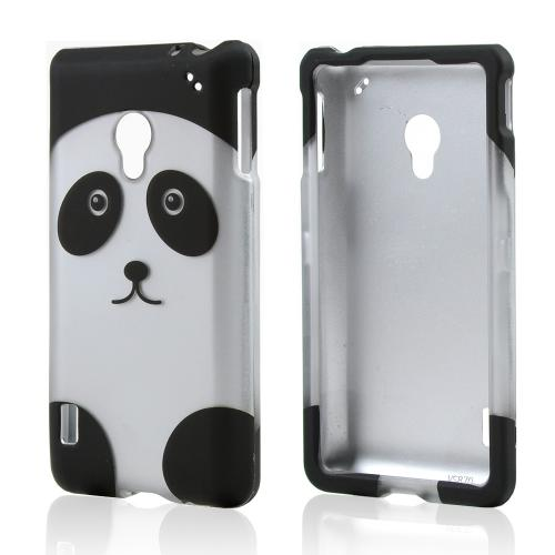 Black/ Silver Panda Bear Rubberized Hard Case for LG Lucid 2