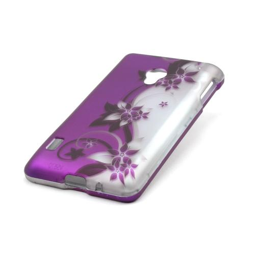 Black Vines on Purple/Silver Rubberized Hard Case for LG Lucid 2