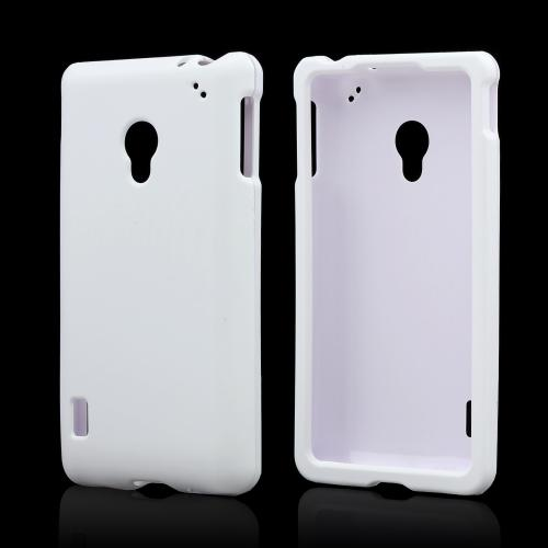 Solid White Rubberized Hard Case for LG Lucid 2