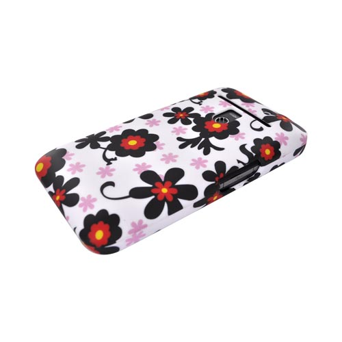 LG Revolution, LG Esteem Rubberized Hard Case - Black Daisies on White