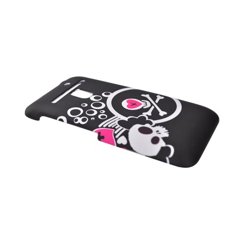 LG Revolution, LG Esteem Rubberized Hard Case - White Skull & Pink Hearts on Black