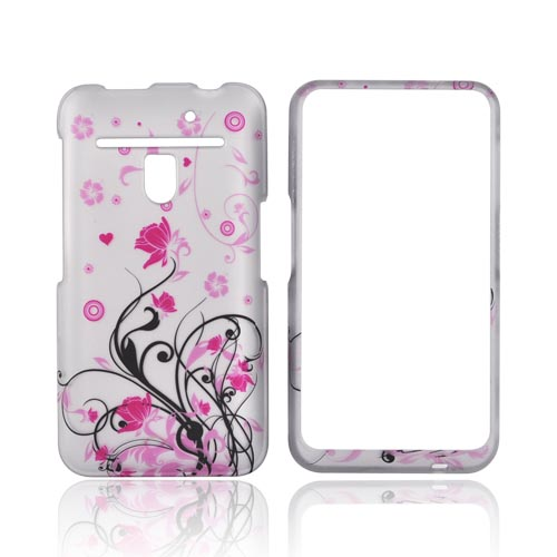 LG Revolution, LG Esteem Rubberized Hard Case - Pink Flowers on Silver