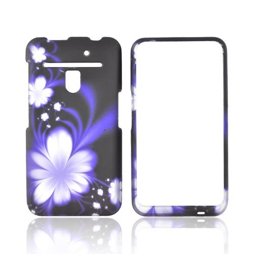 LG Revolution, LG Esteem Rubberized Hard Case - Purple/ White Flowers on Black
