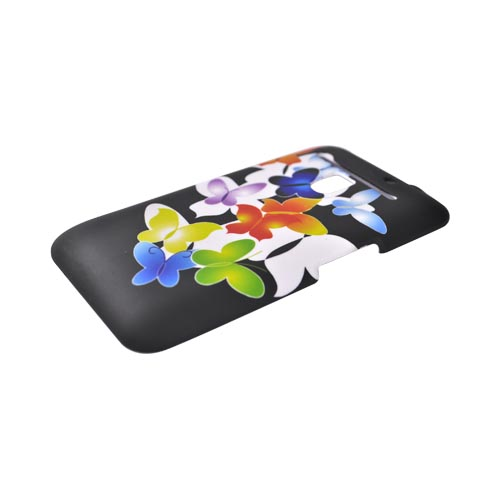LG Revolution, LG Esteem Rubberized Hard Case - Rainbow Butterflies on Black