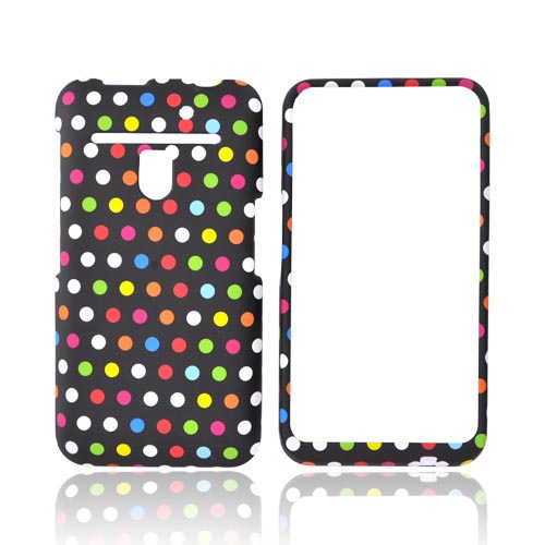 LG Revolution, LG Esteem Rubberized Hard Case - Rainbow Polka Dots on Black