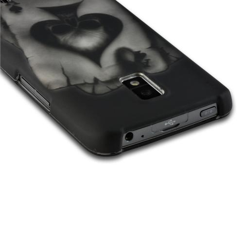 Gray Ace Skull on Black Rubberized Hard Case for LG Spectrum