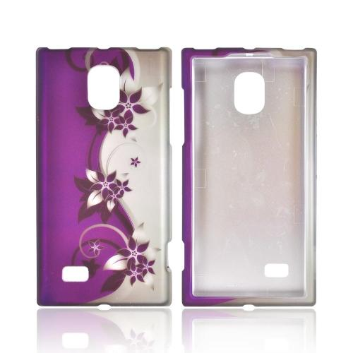 LG Spectrum 2 Rubberized Hard Case - Purple Flowers/ Vines on Silver