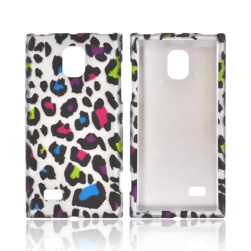 LG Spectrum 2 Rubberized Hard Case - Rainbow Leopard on Silver
