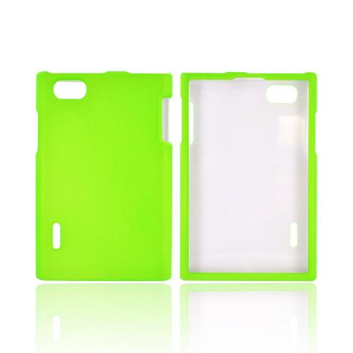 LG Optimus Vu VS950 Rubberized Hard Case - Neon Green