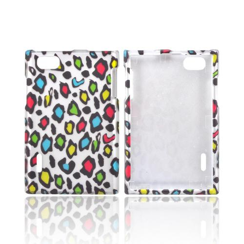 LG Intuition VS950 Rubberized Hard Case - Rainbow Leopard on Silver