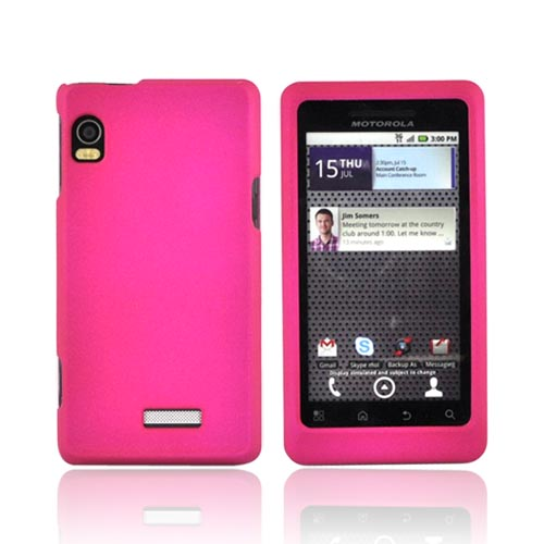 Motorola Droid 2 A955 Rubberized Hard Case - Hot Pink