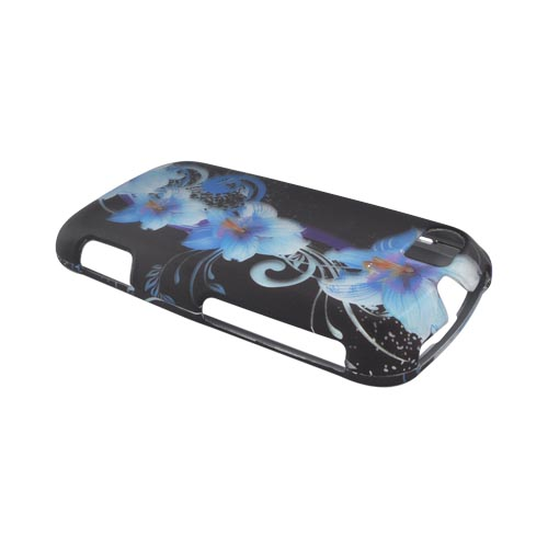 Motorola Admiral Rubberized Hard Case - Blue Flowers on Black