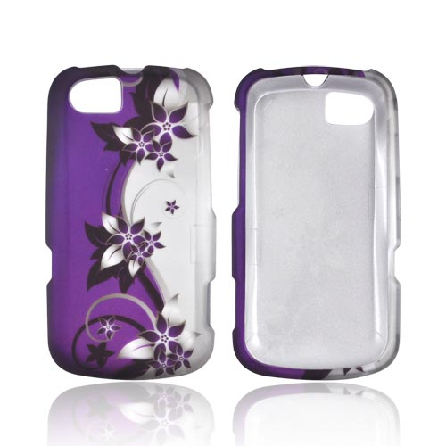 Motorola Admiral Rubberized Hard Case - Purple Flowers/ Vines on Silver