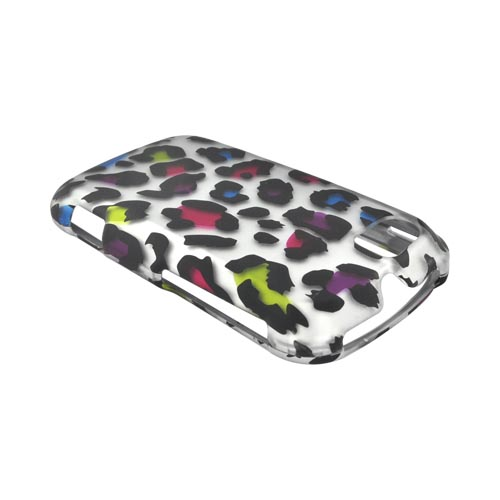 Motorola Admiral Rubberized Hard Case - Rainbow Leopard on Silver