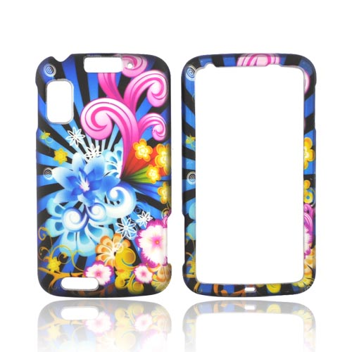 Motorola Atrix 4G Rubberized Hard Case - Blue Floral Burst