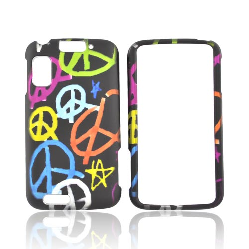 Motorola Atrix 4G Rubberized Hard Case - Colorful Peace Signs on Black